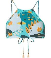 lygia & nanny ilana crop bikini top - blue