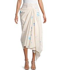 printed cotton-blend midi skirt