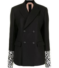 nº21 layered animalier print-cuff double-breasted blazer - black