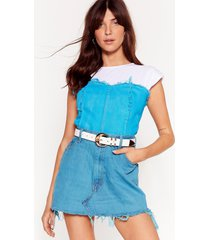 womens vintage on my fray denim corset top - teal
