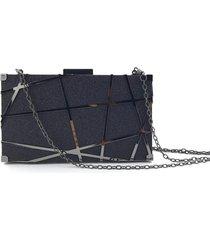 bolsa clutch liage brilho fosca alça removível preta