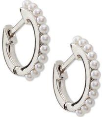 "ava nadri extra-small mini imitation pearl huggie hoop earrings, 0.37"""