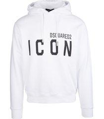 dsquared2 man white icon hoodie