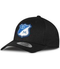 gorra oficial negra millonarios  flexfit otocaps fmip-001 negra