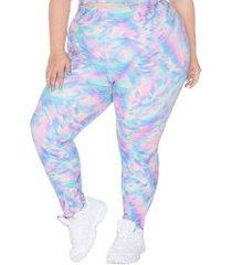 calça legging wonder size ju romano estampa - feminina - azul cla/rosa cla