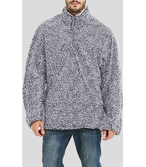 sudadera con cremallera de manga larga suelta cálida de invierno de lana doble para hombre