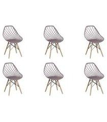 conjunto 06 cadeiras cloe base madeira camurça