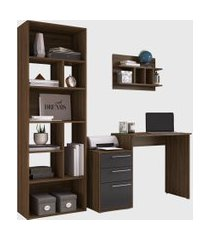 conjunto de escritório 08 escrivaninha/livreiro/prateleira preto/nogueira modern office e estilare móveis