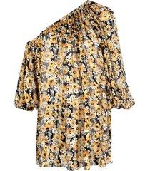 saint laurent floral print asymmetrical dress