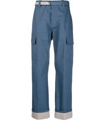craig green belted straight-leg trousers - blue