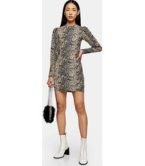 tall snake crinkle long sleeve mini dress - khaki