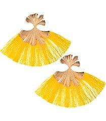 aretes amarillo- dorado fleco sasmon ar-11837