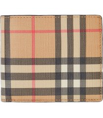 burberry vintage check e-canvas wallet with id card case - brown