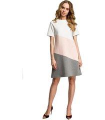jurk be b108 schouderloze pullover met koorddetail - poeder