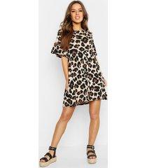 petite gesmokte luipaardprint jurk, geelbruin