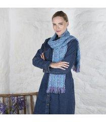 irish woven celtic scarf turquoise