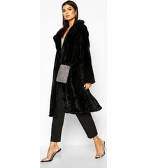 collared faux fur belted robe coat, black