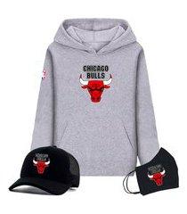 moletom canguru cinza e boné preto time de basquete chicago bulls com máscara