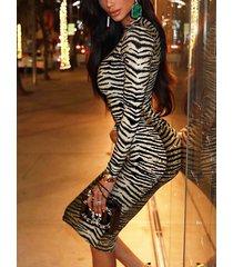 camel zebra rayas redondas cuello manga larga vestido