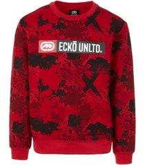 ecko unltd men's sponge camo crewneck fleece sweatshirt