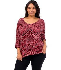 women top plus size 1xl 2xl hot ginger coral geometric 3/4 sleeves scoop neck