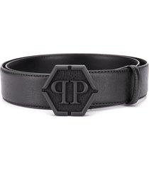philipp plein top-stitched leather belt - black