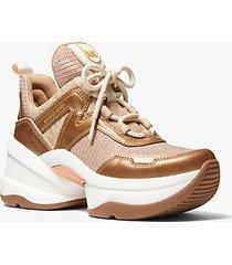 mk sneaker olympia in pelle metallizzata e mesh effetto metallizzato con glitter - rame (marrone) - michael kors