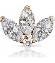 3mm diamond lotus earring stud - rose gold