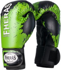 luva boxe muay thai fheras lines top black stain verde - branco - dafiti