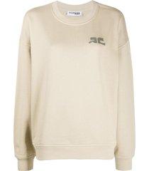 courrèges logo embroidered sweatshirt - neutrals