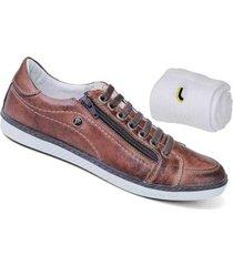 kit sapatênis couro bmbrasil + meia lupo masculino - feminino