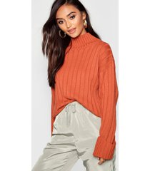 petite rib knit high neck sweater, rust