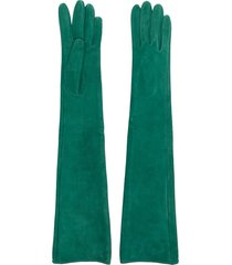 manokhi long-length suede gloves - green