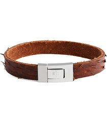 tateossian men's stainless steel & leather distressed bracelet - brown