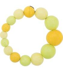 monies colar assimétrico com aplicação de contas - amarelo