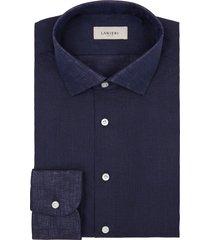 camicia da uomo su misura, albini, lino blu scuro, primavera estate | lanieri