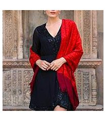 wool shawl, 'ruby romance' (india)
