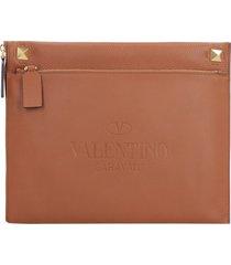 valentino identity leather flat pouch - valentino garavani