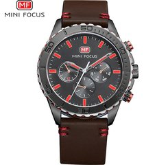 reloj para hombre/correa de piel/ mini focus / 0007g-marrón