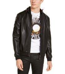 ax armani exchange black faux leather blouson jacket