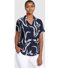 blouse alba moda marine::wit
