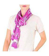 cotton scarf, 'solola orchids' (guatemala)