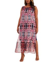 connected plus size printed maxi dress