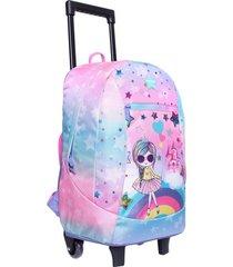 mochila con carro game rosada princesa head