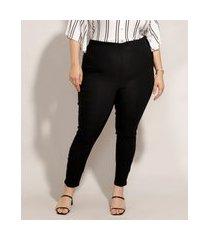 calça plus size legging cintura alta preta