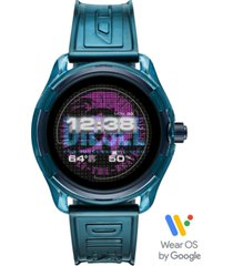 diesel men's fadelite blue transparent polyurethane strap touchscreen smart watch 44mm