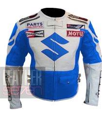 suzuki 4269 sky blue leather motorcycle motorbike  pure cowhide armour jacket