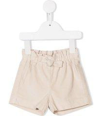il gufo bow detail plain shorts - neutrals