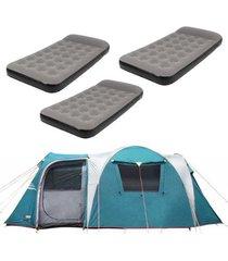 barraca camping nautika arizona gt 9/10 pessoas + 3 colchões solteiro inflável star twin