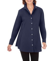 petite women's foxcroft cecelia non-iron button-up tunic shirt, size 6p - blue